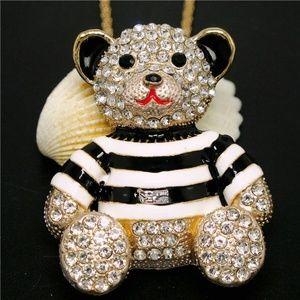 Jewelry - New Crystal Enamel Bear Pendant Brooch Necklace